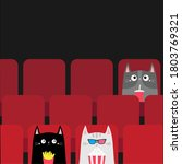 cat set in movie theater eating ... | Shutterstock . vector #1803769321