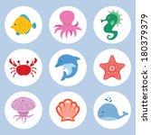 vector set of cute cartoon sea... | Shutterstock .eps vector #180379379