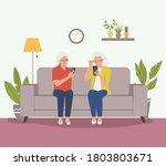 elderly women are sitting on... | Shutterstock .eps vector #1803803671