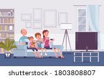 family sitting watching... | Shutterstock .eps vector #1803808807
