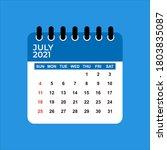 july 2021 calendar. july 2021... | Shutterstock .eps vector #1803835087