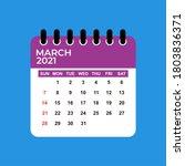 march 2021 calendar. march 2021 ... | Shutterstock .eps vector #1803836371