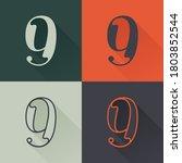 classic number nine logo set in ... | Shutterstock .eps vector #1803852544