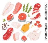 cooking food ingredients  beef... | Shutterstock .eps vector #1803886927