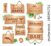 set of wooden signboards. summer | Shutterstock .eps vector #180391721