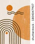 rainbow sun moon print boho...   Shutterstock .eps vector #1804047907