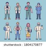 character set of doctors in... | Shutterstock .eps vector #1804170877