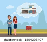 a young man and woman are... | Shutterstock .eps vector #1804208407