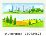 two cool horizontal banners... | Shutterstock .eps vector #180424625