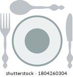 silverware and plate icon. flat ...