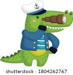 a cute crocodile wearing a... | Shutterstock .eps vector #1804262767