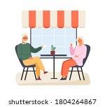 happy elderly couple sitting at ... | Shutterstock .eps vector #1804264867