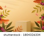 apricot yellow color podium to... | Shutterstock .eps vector #1804326334