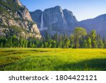 yosemite falls from yosemite valley, california in the usa