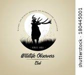 Wildlife Observers with Deer buck on fool moon badge - stock vector