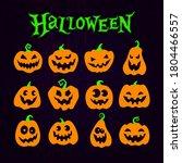 cute halloween pumpkins set.... | Shutterstock .eps vector #1804466557