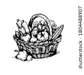 a basket with vegetables ... | Shutterstock .eps vector #1804488907