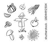 Harvest Hand Drawn Doodle Set...
