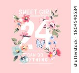 sweet girl slogan with colorful ... | Shutterstock .eps vector #1804540534