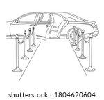 limousine with an open door on...   Shutterstock .eps vector #1804620604