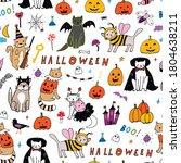 halloween seamless line vector... | Shutterstock .eps vector #1804638211