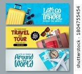 travel banner set vector... | Shutterstock .eps vector #1804755454