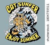 Retro Cat Surfing Illustration...