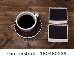 coffee cup and old blank photos ...   Shutterstock . vector #180480239