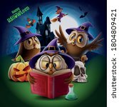 owls with wizard hat in... | Shutterstock .eps vector #1804809421