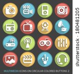 multimedia icons on circular... | Shutterstock .eps vector #180481205
