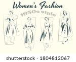 mid century modern women's...   Shutterstock .eps vector #1804812067