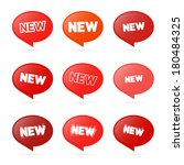 red stickers with new title... | Shutterstock . vector #180484325