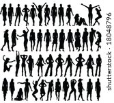 50 girls silhouette   vector | Shutterstock .eps vector #18048796