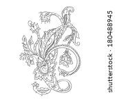 monochrome hand drawn paisley... | Shutterstock . vector #180488945