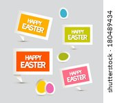 paper vector easter eggs ... | Shutterstock .eps vector #180489434