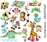 set with animals toys for... | Shutterstock .eps vector #180492569