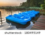 Row Of Blue Pedal Rental Boats...