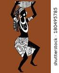 dancing aborigines.papuan... | Shutterstock .eps vector #180495785