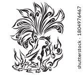 fox tattoo nine tail pattern... | Shutterstock .eps vector #1804976467