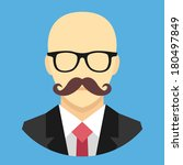 vector bald man with mustache...