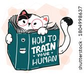 cute cat read book  how to...   Shutterstock .eps vector #1804998637