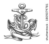 ship anchor and octopus... | Shutterstock .eps vector #1805079781