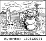 halloween coloring page   black ... | Shutterstock .eps vector #1805120191