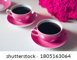 Two Pink Coffee Cups On White...