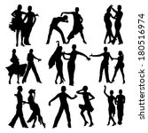 dancing people silhouettes set | Shutterstock .eps vector #180516974