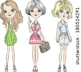 set cute beautiful fashion girl ... | Shutterstock . vector #180524291