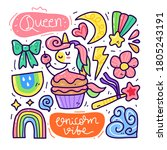 doodle collection set of... | Shutterstock .eps vector #1805243191