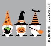 halloween gnome t shirt design... | Shutterstock .eps vector #1805246974