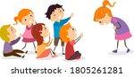 illustration of stickman kids... | Shutterstock .eps vector #1805261281