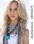 beautiful blond girl outdoors | Shutterstock . vector #18052675